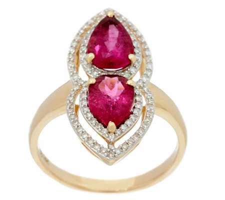 Pear Shaped Rubellite & Pave' Diamond Elongated Ring 14K, 2.20 cttw