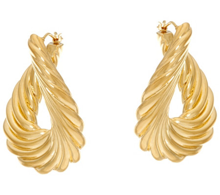 Oro Nuovo Ribbed Front to Back Hoop Earrings 14K