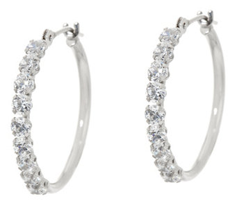 "Diamonique 3/4"" Polished Hoop Earrings, 14K Gold - J334690"
