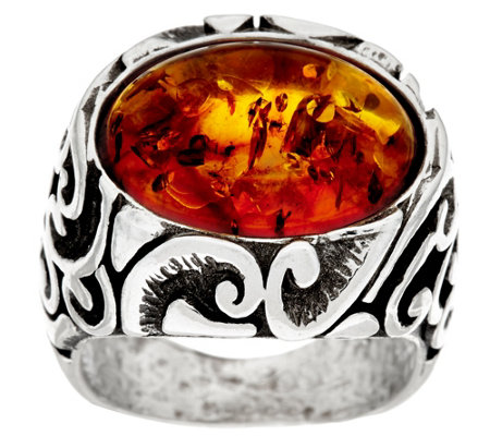 """As Is"" Sterling Silver Scroll Design Gemstone Ring by Or Paz"