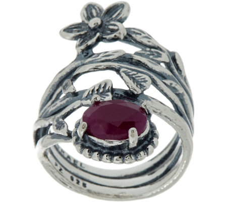 Sterling Silver 1.25 ct Ruby & Flower Bypass Ring by Or Paz