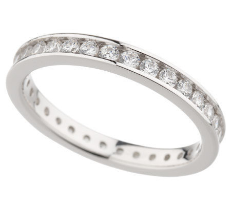 Diamonique 3/4 cttw Round Silk Fit Eternity Band, Platinum Clad