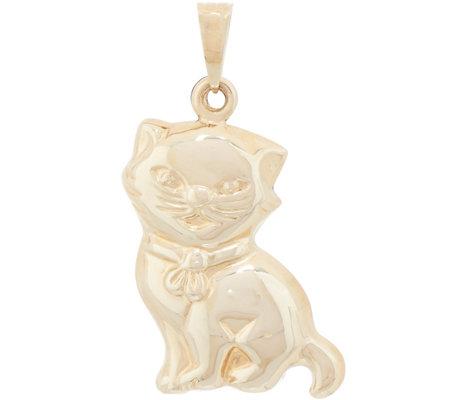 Italian gold cat pendant 14k gold page 1 qvc italian gold cat pendant 14k gold aloadofball Image collections