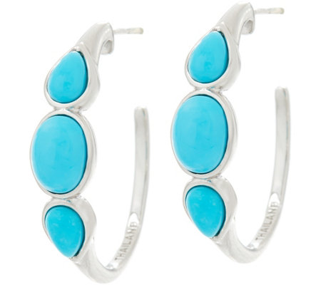 """As Is"" Blue Kingman Turquoise Multi Cut Sterling Hoop Earrings"