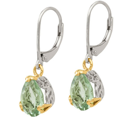 Sterling & 14K 3.60 cttw Green AmethystEarrings
