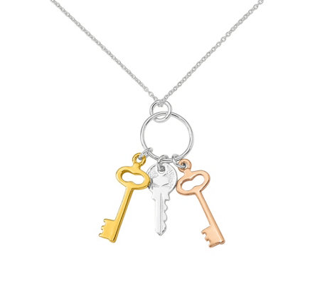 Sterling Tri-Color Keys Necklace by Silver Style