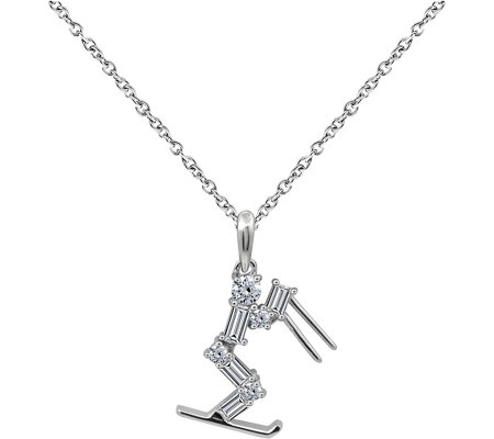 Diamonique Sterling Skier Pendant with Chain