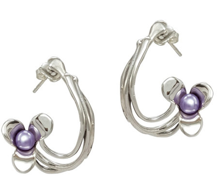 Hagit Sterling Cultured Freshwater Pearl FloralEarrings