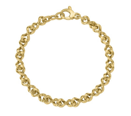 Italian Gold Twisted Link Bracelet 14K, 5.5g