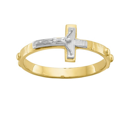 14K Gold Two-Tone Crucifix Rosary Ring