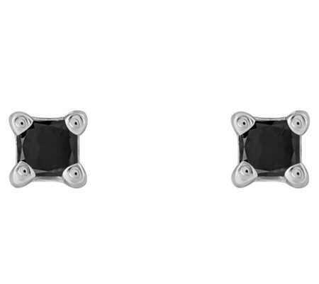 Affinity 14K 1/10 cttw Princess Black Diamond Stud Earrings