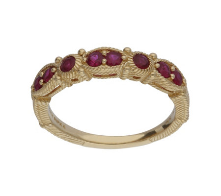 Judith Ripka 14K Gold Ruby Band Ring