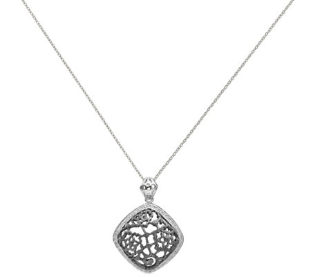 "Sterling & Black Rhodium-Plated Square Pendantw/18"" Chain"