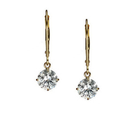 Diamonique 2.00 ct tw Round Lever Back Earrings, 14K Gold