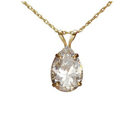 Diamonique 2.00cttw Pear Solitaire Pendant w/Chain, 14K