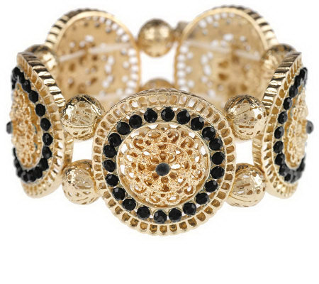 susan graver bohemian style beaded link stretch bracelet