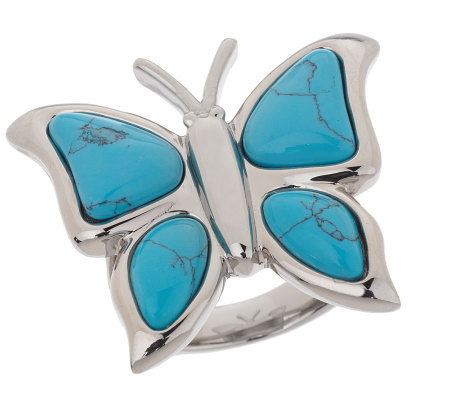 Steel by Design Blue Glass Butterfly Ring