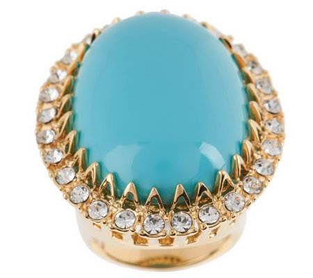 Luxe Rachel Zoe Oval Cabochon Pave Ring