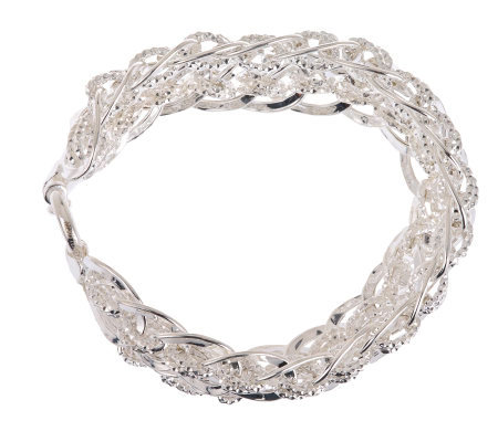 """As Is"" Sterling Large Textured Oval Link Bracelet, 27.6g"