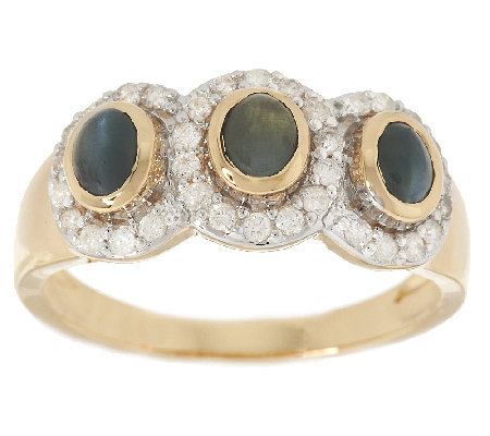 Cat's Eye Alexandrite & 1/4 ct tw Diamond Ring 14K Gold