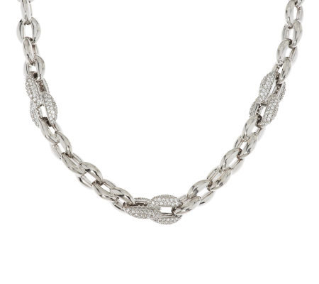 "Vicenza Silver Sterling 18"" Diamonique & Polished Rolo Link Necklace"