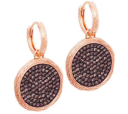 Veronese 18K Clad Cognac Crystal Textured Round Drop Earrings