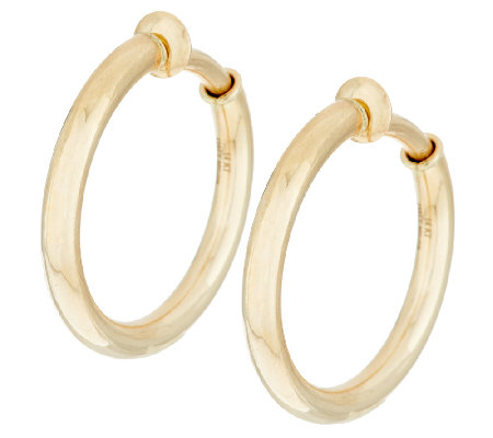 "Vicenza Gold 1"" Polished Non Pierced Round Tube Hoop Earrings 14K"