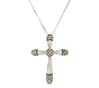 Argyle Diamond 1/2 cttw Cross Pendant with Chain, Sterling - J291291