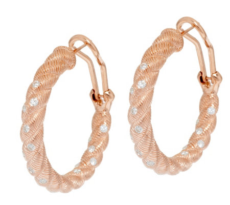 Judith Ripka 14K Gold Clad Burnished Diamonique Hoop Earrrings