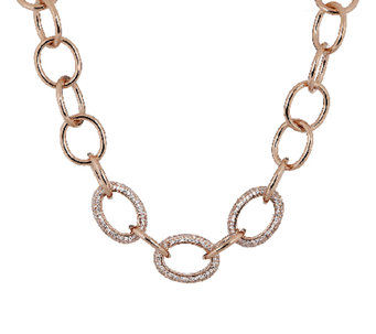 Bronze Adjustable Pave' Crystal Necklace by Bronzo Italia - J291891