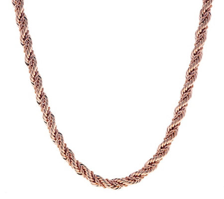 "Bronze 24"" Twisted Double Rope Chain Necklace by Bronzo Italia"