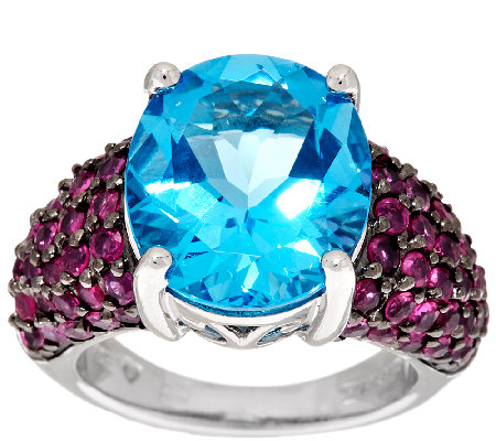 Ostro Swiss Blue Topaz 9.50 ct tw Thai Ruby Sterling Ring