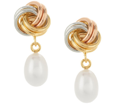 Honora Cultured Pearl 9.0mm Love Knot Drop Bronze Earrings