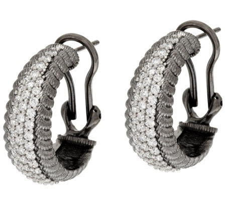 Judith Ripka Sterling Verona Diamonique Hoop Earrings
