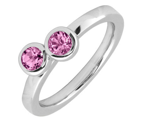 Simply Stacks Sterling & Pink Tourmaline DoubleCircle Ring