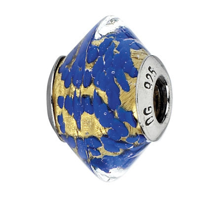 Prerogatives Sterling Gold and Blue Italian Murano Glass Bead