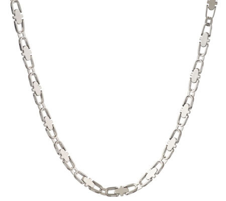 Forza Men's Stainless Steel Oval Link Necklace