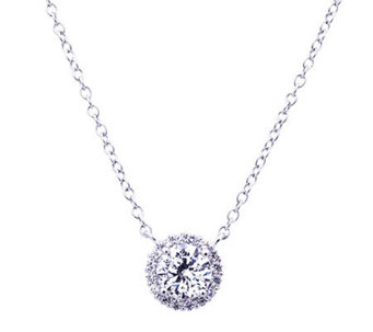Diamonique 100-Facet 1.65cttw Halo Pendant, Platinum Clad - J304491