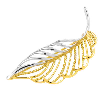 Two-tone Leaf Pin, 14K Gold