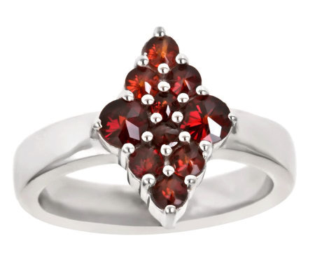 Garnet Diamond-Shaped Cluster Ring, Sterling