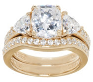 Diamonique 2.95 ct tw 100-Facet 2-pc. Bridal Ring, 14K Clad