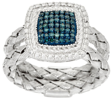 Square Double Braided Diamond Ring, Sterling, 1/4 cttw, by Affinity