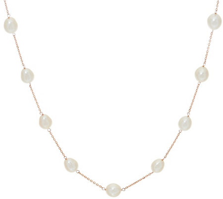 "Honora 14K Gold Cultured Pearl 6.0mm Station 16"" Necklace"