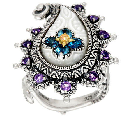 Barbara Bixby Sterling & 18K Multi-Gemstone Paisley Ring