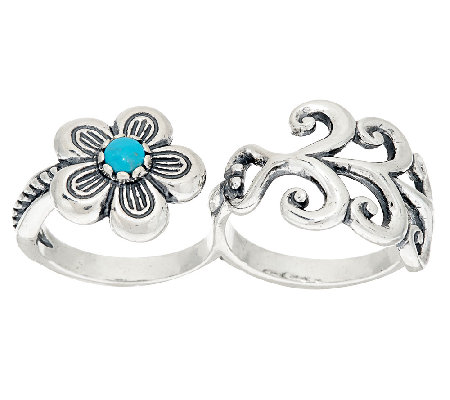 Sterling & Turquoise Double Finger Flower Ring by American West