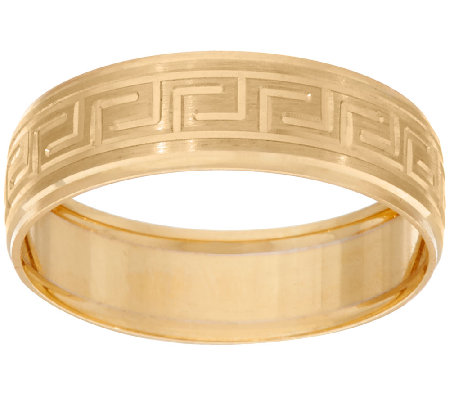 14K Gold Greek Key Design Band Ring