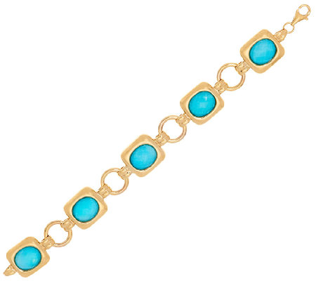 14K Gold Small Sleeping Beauty Turquoise Doublet Bracelet