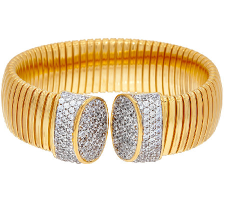 Bronze Pave' Crystal Tubogas Cuff Bracelet by Bronzo Italia