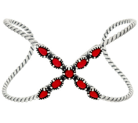 Carolyn Pollack Sterling Silver Red Coral X Cuff
