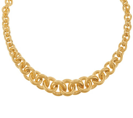 Bronzo Italia Polished Graduated Rolo Link Collar Necklace